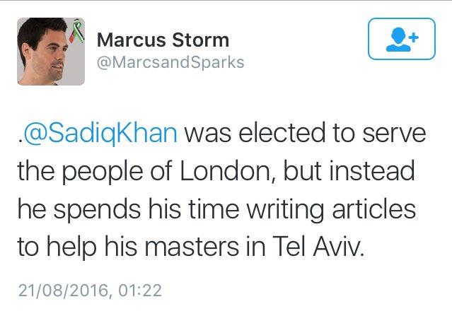 Sadiq 'Serves his masters' in Tel Aviv