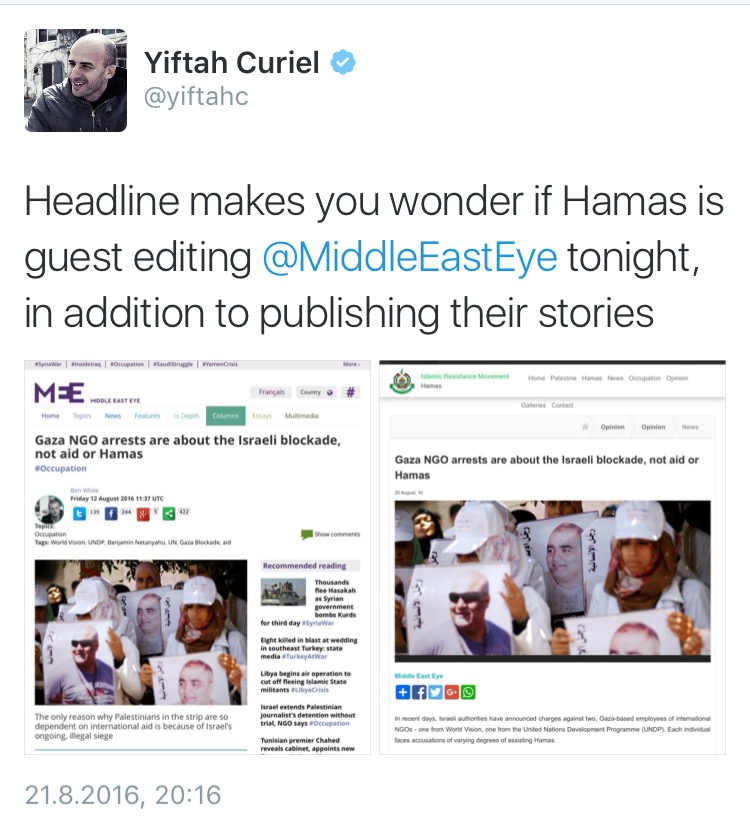 The Middle East Eye has published stories which mirror the content produced by Hamas organisations