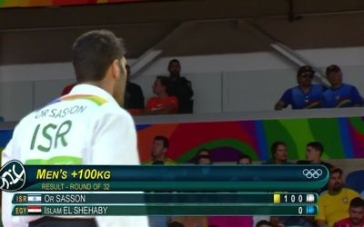 Or Sasson walks off in disgust after his beaten Egyptian opponent refused to shake his hand