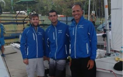 Udi Gal (right) with sailors Eyal Levin and Dan Froyliche
