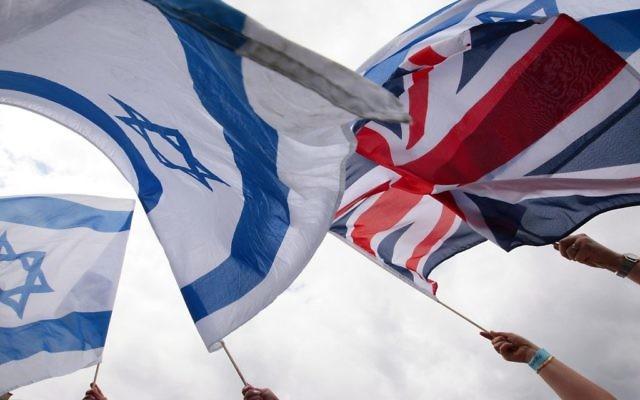 Israeli and British flags