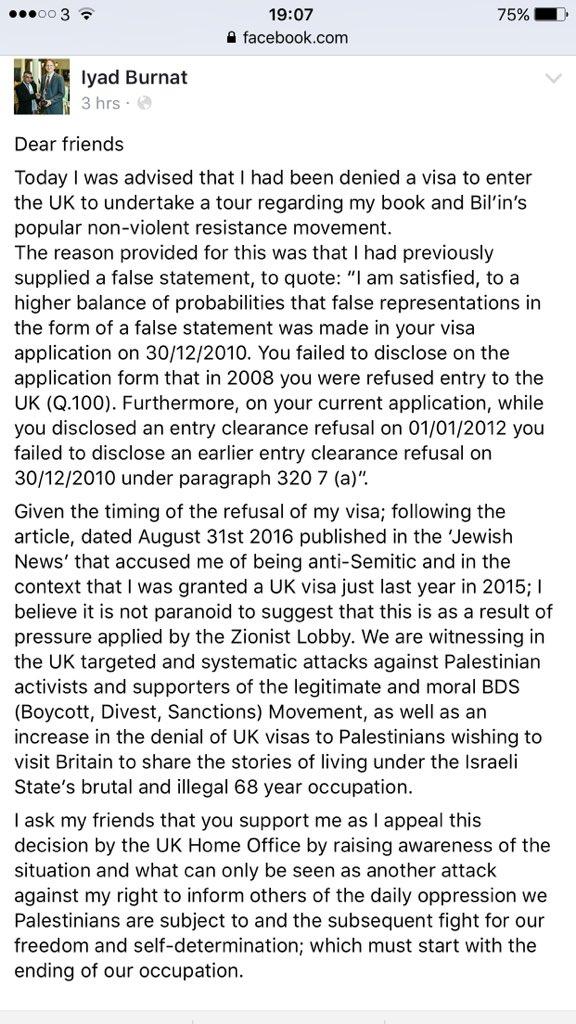 Iyad Burnat's Facebook post