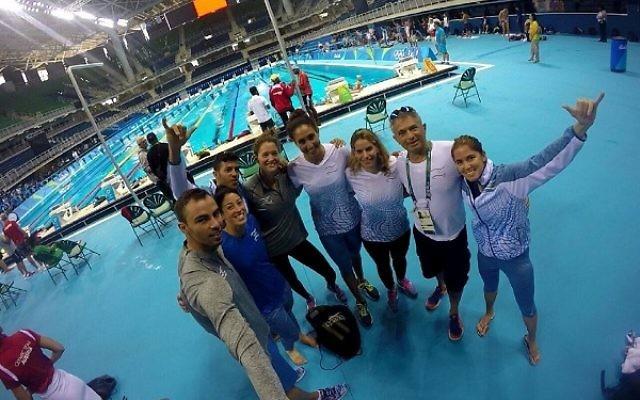 The Israeli swimmers at the Aquatics Stadium