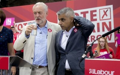 Jeremy Corbyn and Sadiq Khan together at a pro-EU event