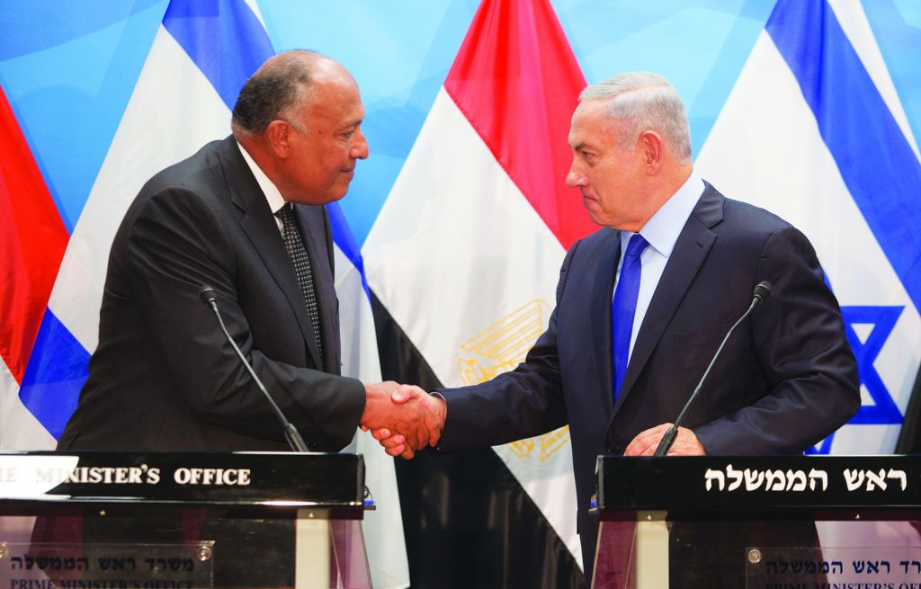 Netanyahu with Egypt's foreign minister Sameh Shoukry