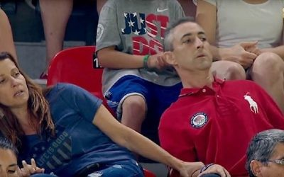 Ricky and Lynn Raisman watch nervously from the stands