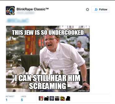 A tweet documented by The Scottish Council of Jewish Communities, incorporating anti-Semitism into a Gordon Ramsey meme