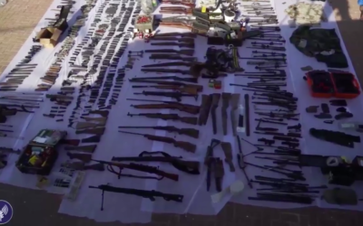 The large stash of weapons collected by Israeli forces during the series of raids in the West Bank