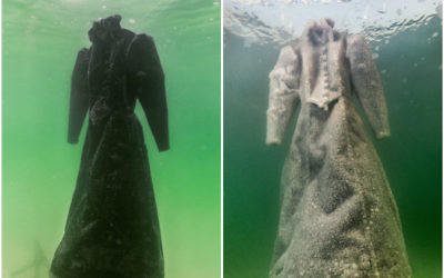 Israeli artist Sigalit Landau left a black dress in the Dead Sea, allowing it to crystallize. (Courtesy of Marlborough Contemporary)