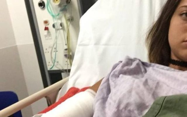 Yovel Lewkowski posted this picture of herself in hospital on social media.