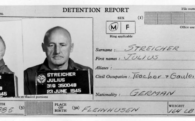 Julius Streicher's arrest papers.