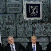 L-R: President Reuven Rivlin, PM Benjamin Netanyahu and ex-President,  PM Shimon Peres