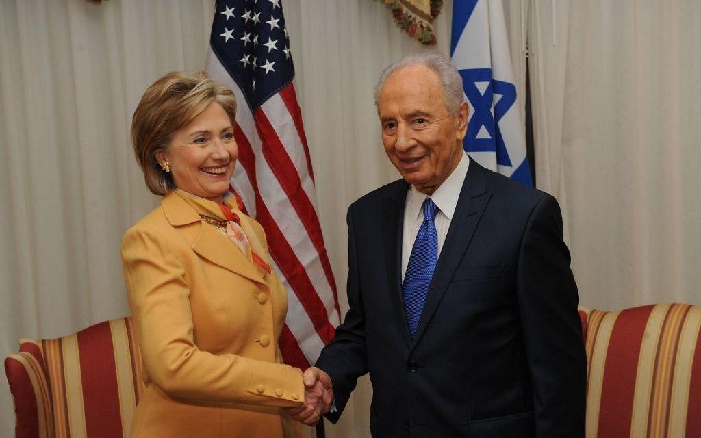 Shimon Peres with Hillary Clinton