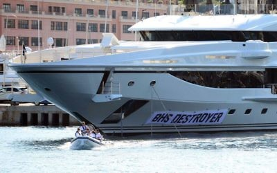 Picture taken from the Twitter feed of Lee Nelson showing the TV comedian and his team renaming Sir Philip Green's prize £100million super yacht the 'BHS Destroyer'.
