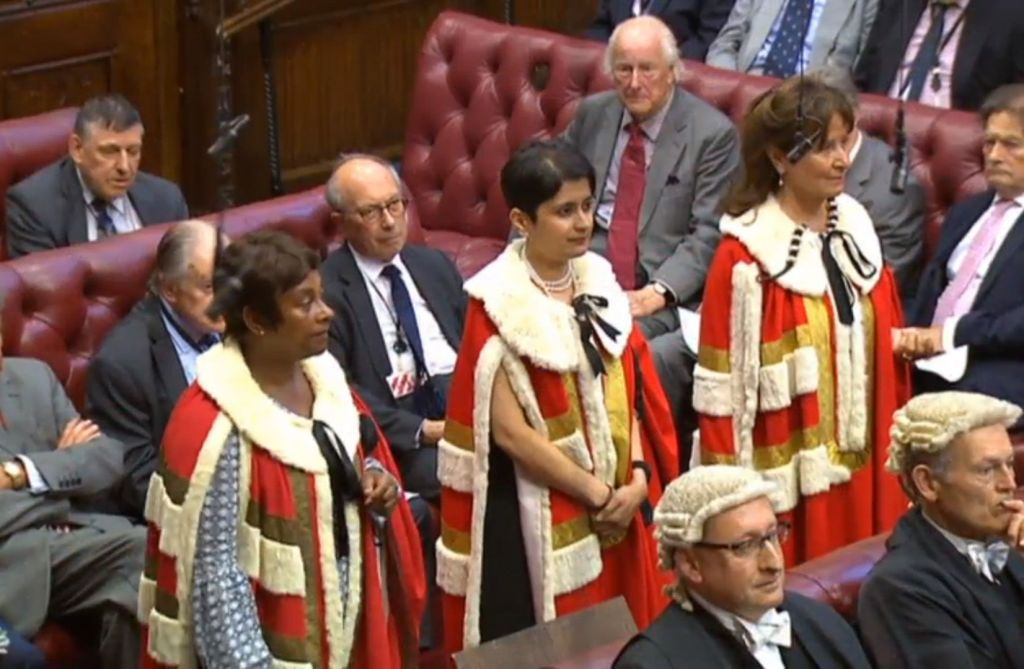 Shami Chakrabarti (centre) takes her seat in the House of Lords, with Baroness Lawrence of Clarendon (left) and Baroness Kennedy of the Shaws (right) (Photo credit : PA Wire)