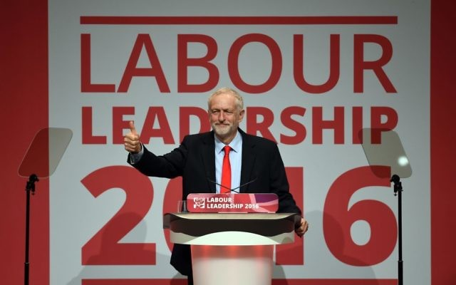 Jeremy Corbyn celebrates his second Labour leadership victory