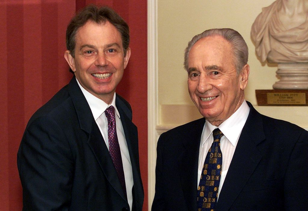 Tony Blair meeting former Israeli President Shimon Peres. (Photo credit should read: PA Wire)