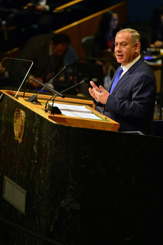 Israeli Prime Minister Benjamin Netanyahu adresses the 71st UN general assembly debate at the UN headquarters in New York (Photo by Kobi Gideon / GPO via JINIPIX)
