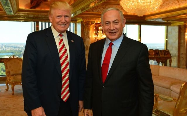 Prime Minister Benjamin Netanyahu meets with Donald Trump.