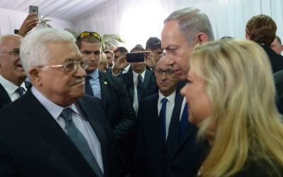Mahmoud Abbas meeting with prime minister Benjamin Netanyahu