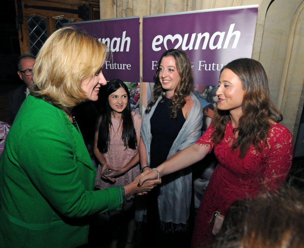 Amber Rudd with Sara Kulp, Lauren Keiles and Adina Sheldon at British Emunah's dinner which raised £400k for vulnerable children in Israel.  Photo: John Rifkin