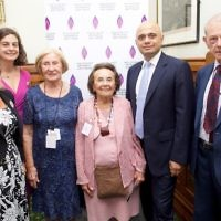 Sajid Javid MP (second from the right) with Susan Pollack MBE and Lily Ebert BEM are both standing with Laura Marks OBE, HMDT Chief Executive Olivia Marks-Woldman, and John Hajdu.