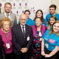 Survivors of the Holocaust: Dr Martin Stern, Sabina Miller, Ben Helfgott MBE and Zigi Shipper BEM with his wife, as well as John Hajdu and some HMDT Youth Champions