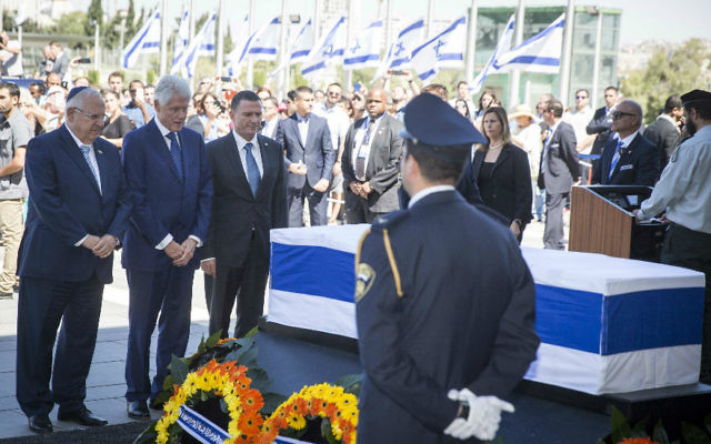 Bill Clinton with Israeli President Reuven Rivlin and Knesset Speaker Yuli Edelstein