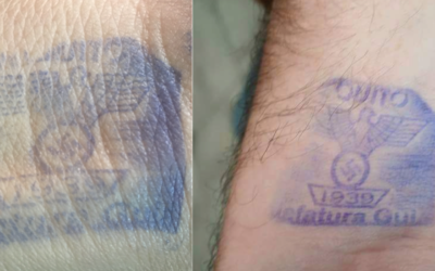 Nazi-themed hand stamps being used to mark visitors to a jail in Quito, Ecuador (Twitter)
