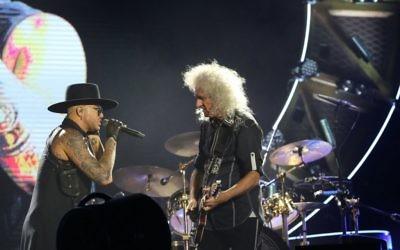 Queen frontman Adam Lambert with legendary guitarist Brian May in Tel Aviv