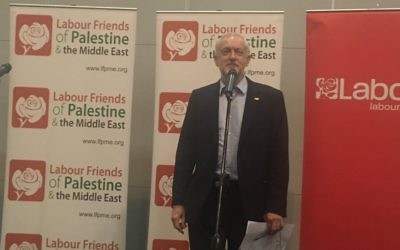 Jeremy Corbyn speaking at the Labour Friends of Palestine and the Middle East fringe event