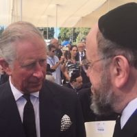 Chief Rabbi Mirvis speaking with Prince Charles during the funeral
