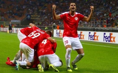 Hapoel Beer'Sheva celebrating a previous victory in the Europa League against Inter Milan