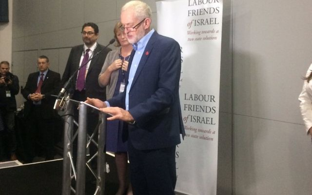 Jeremy Corbyn addressing Labour Friends of Israel in 2016, during the Labour Party conference