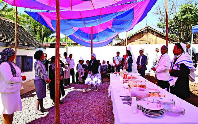 Kiddush, Shacharit (morning) service, Beit HaTefilah Israel, Antananarivo, Madagascar. August 2014.