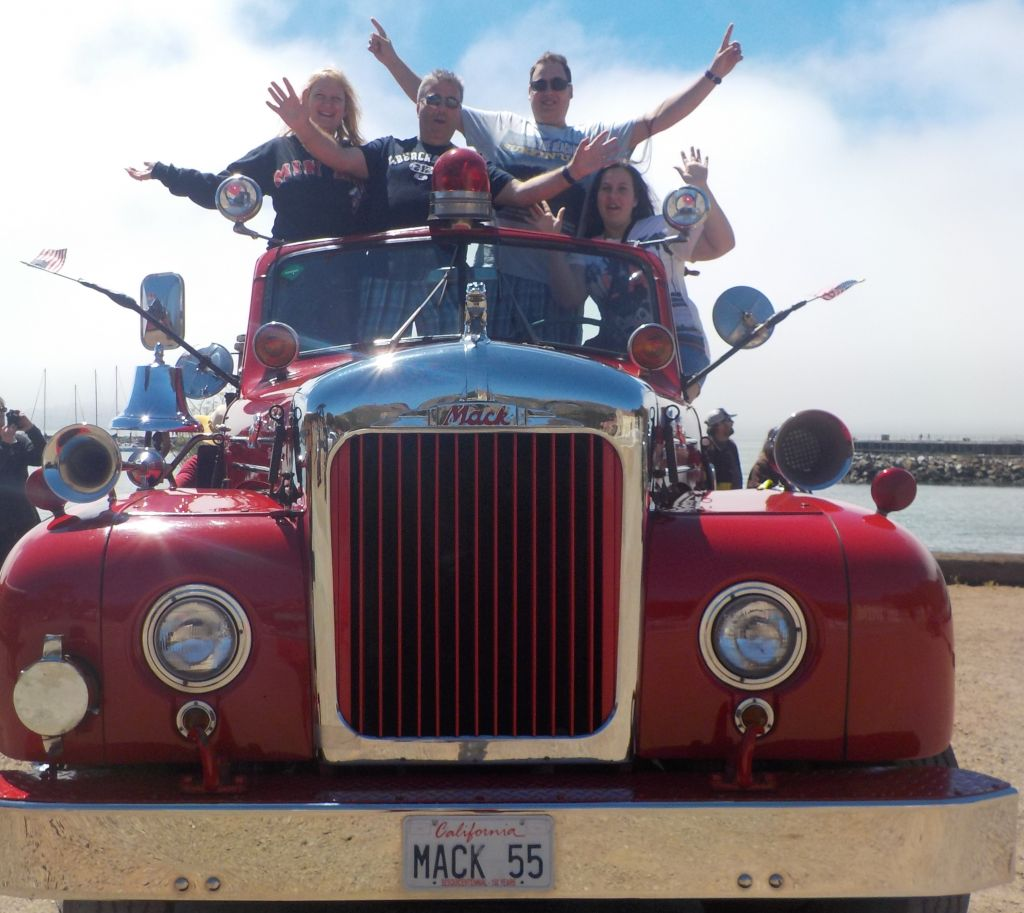 The Silver family on a fire engine tour