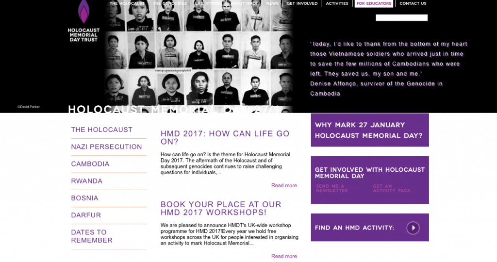 The Holocaust Memorial Day Trust's website features a number of genocides