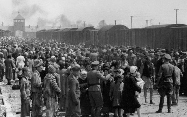 """Selection"" of Hungarian Jews on the ramp at the death camp Auschwitz-II (Birkenau) in Poland during German occupation. Source: Wikimedia Commons. Author: :Auschwitz Album from Yad Vashem)"