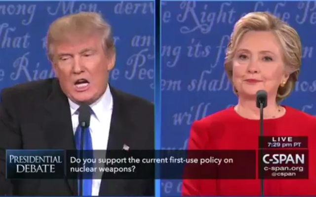 Trump and Clinton during a debate, answering questions on Iran (Screenshot from a video)