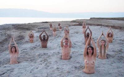Artist Spencer Tunick invited 15 male and female nude volunteers to help raise awareness of the environmental impact on the Dead Sea. Credit: Spencer Tunick