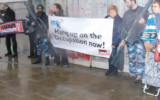 War on Want activists protesting against Israel