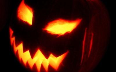 A Jack-o-lantern, on Halloween