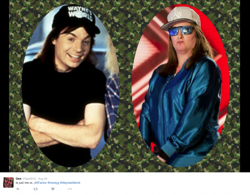 Honey G compared to Mike Myers in Wayne's world