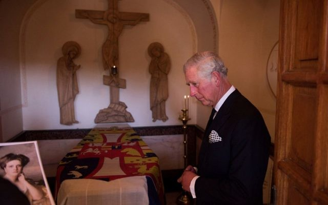 The Prince of Wales visiting his grandmother, Princess Alice of Greece's, final resting place in Jerusalem for the first time. Photo credit: @ClarenceHouse/PA)