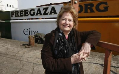 Mairead Maguire stands beside the Cargo ship the MV Rachel Corrie as the Nobel peace laureate has described her detention by the Israeli navy as she tried to reach Gaza by sea as kidnap. (Photo credit: Niall Carson/PA Wire)