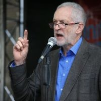 Jeremy Corbyn speaking at at rally   (Photo credit: Jonathan Brady/PA Wire