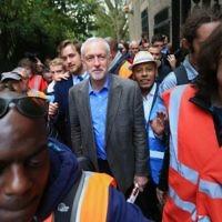 Jeremy Corbyn after addressing the crowd