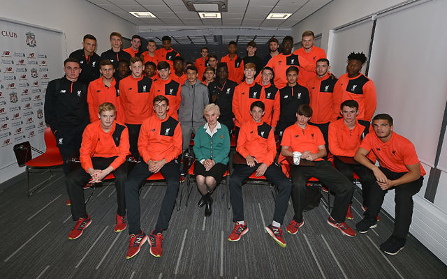 Renee (centre in green) with members of Liverpool's youth squads, during one of her talks this week