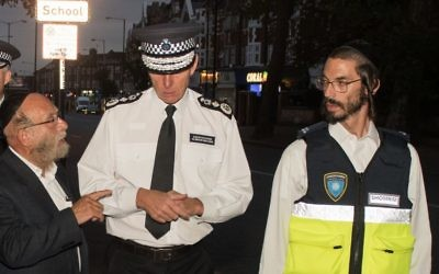 Shomrim members on a patrol with ex-Met Police Commissioner Sir Bernard Hogan-Howe in Stamford Hill.
