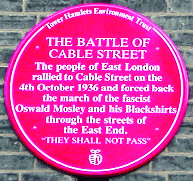 Battle of Cable Street red plaque